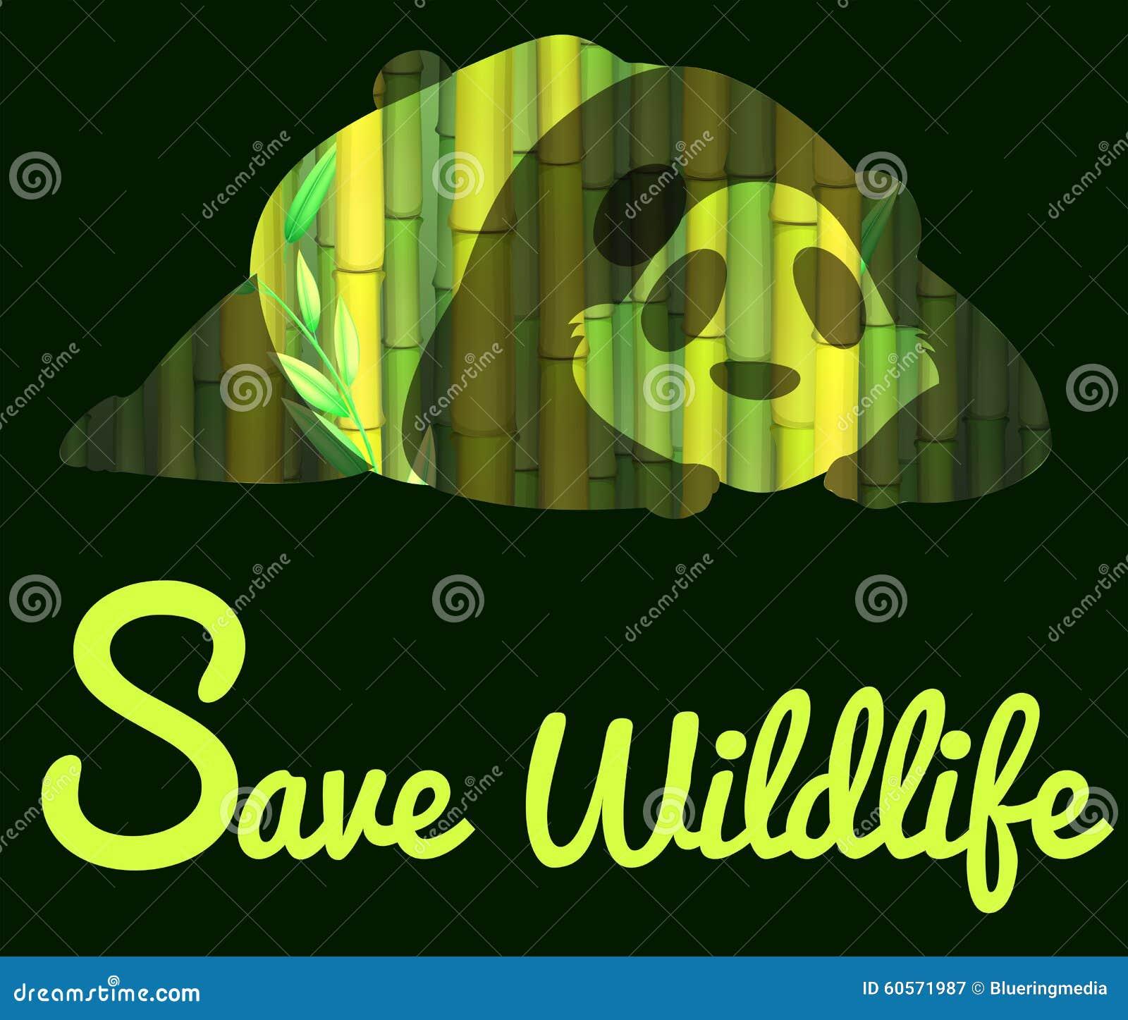 Save Wildlife With Panda Stock Illustration - Image: 60571987