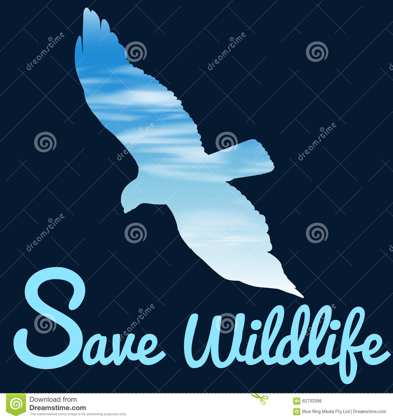Save Wildlife Theme With Bird Flying Stock Vector - Image: 62733396