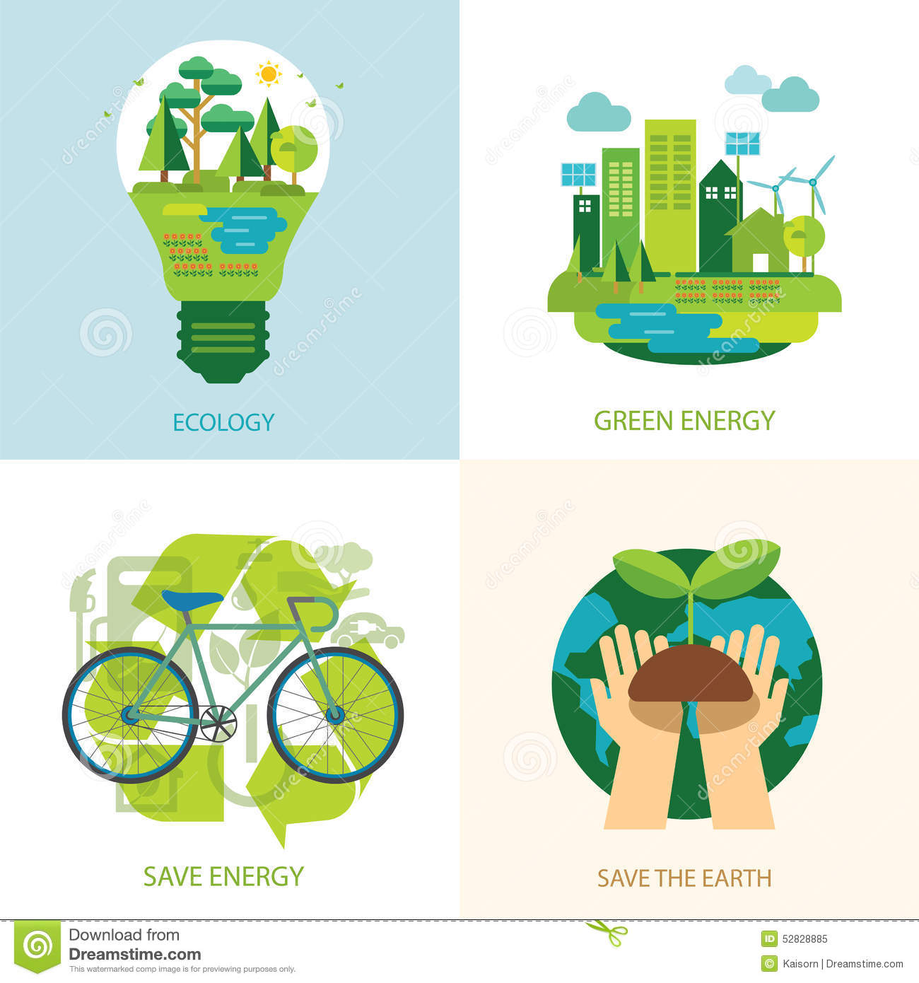 Save The World And Clean Energy Concept Stock Vector