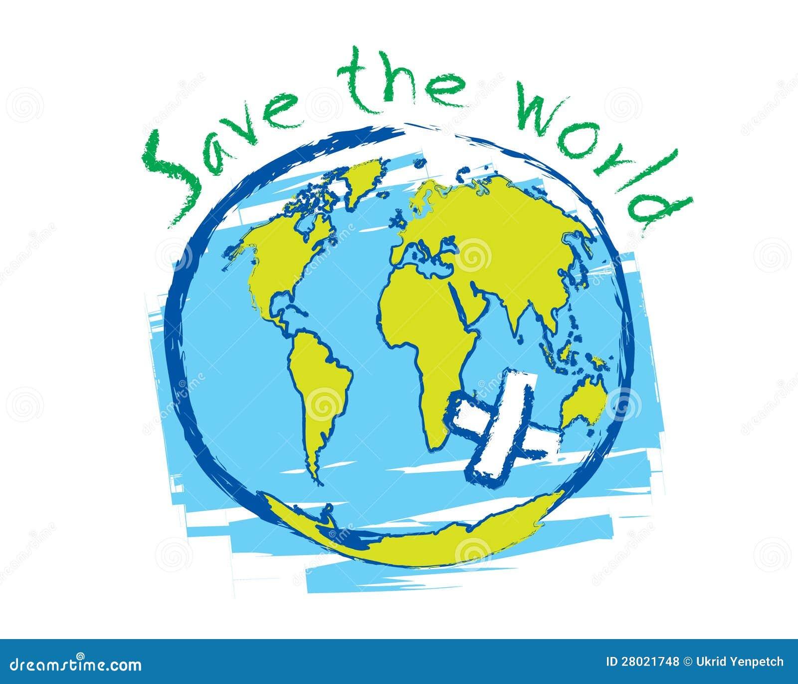 Save The World Sketch Idea Concept Vector Royalty Free