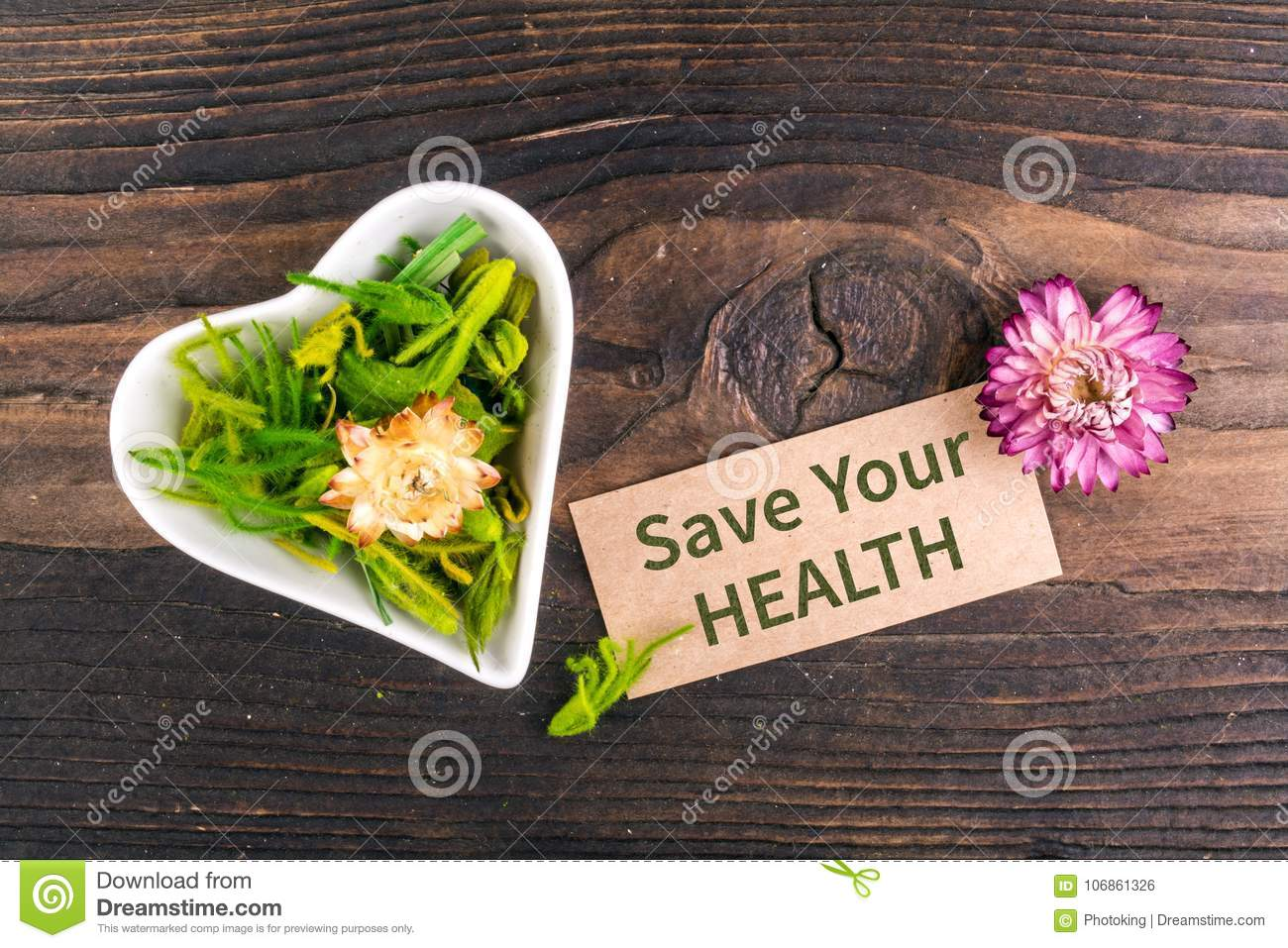 Save your health text on card