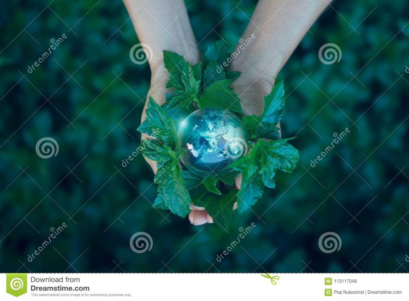 Saving energy concept, Hand holding earth on green nature