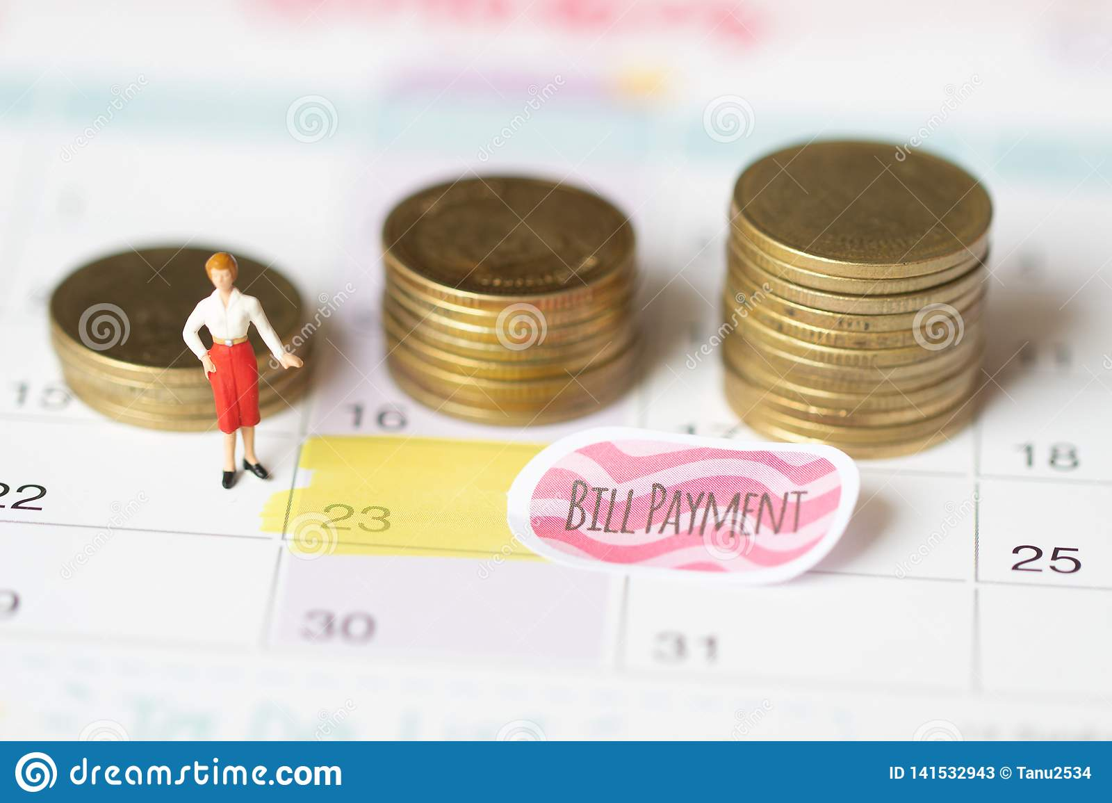 Saving money for bill payment concept. Holidays money savings concept. coin and bill payment. Collecting money in coin stack for