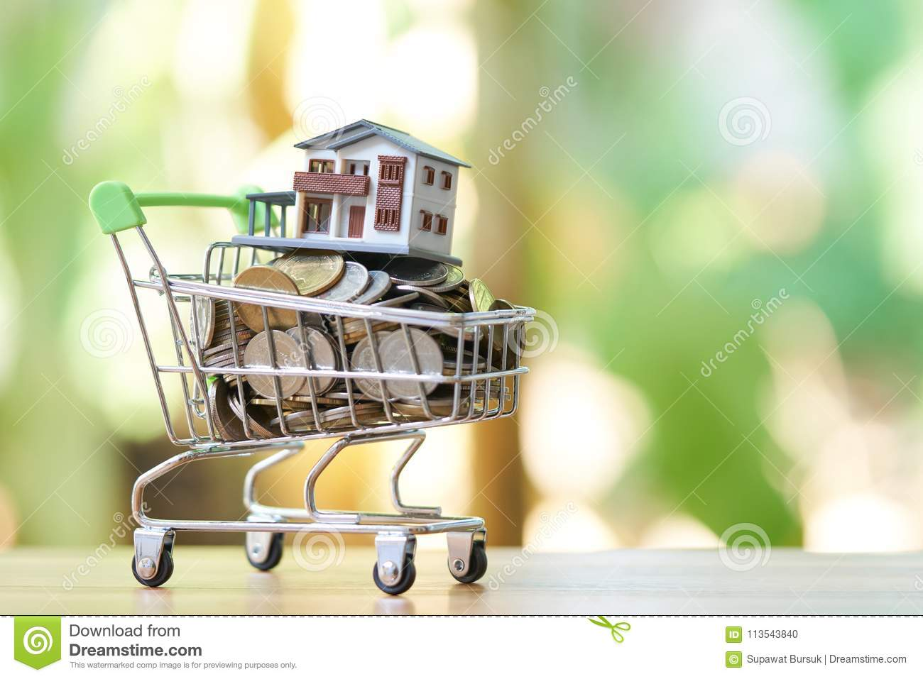 Saving money concept of collecting coins Thai money in a Shopping Cart and house model on nature background. as background busi