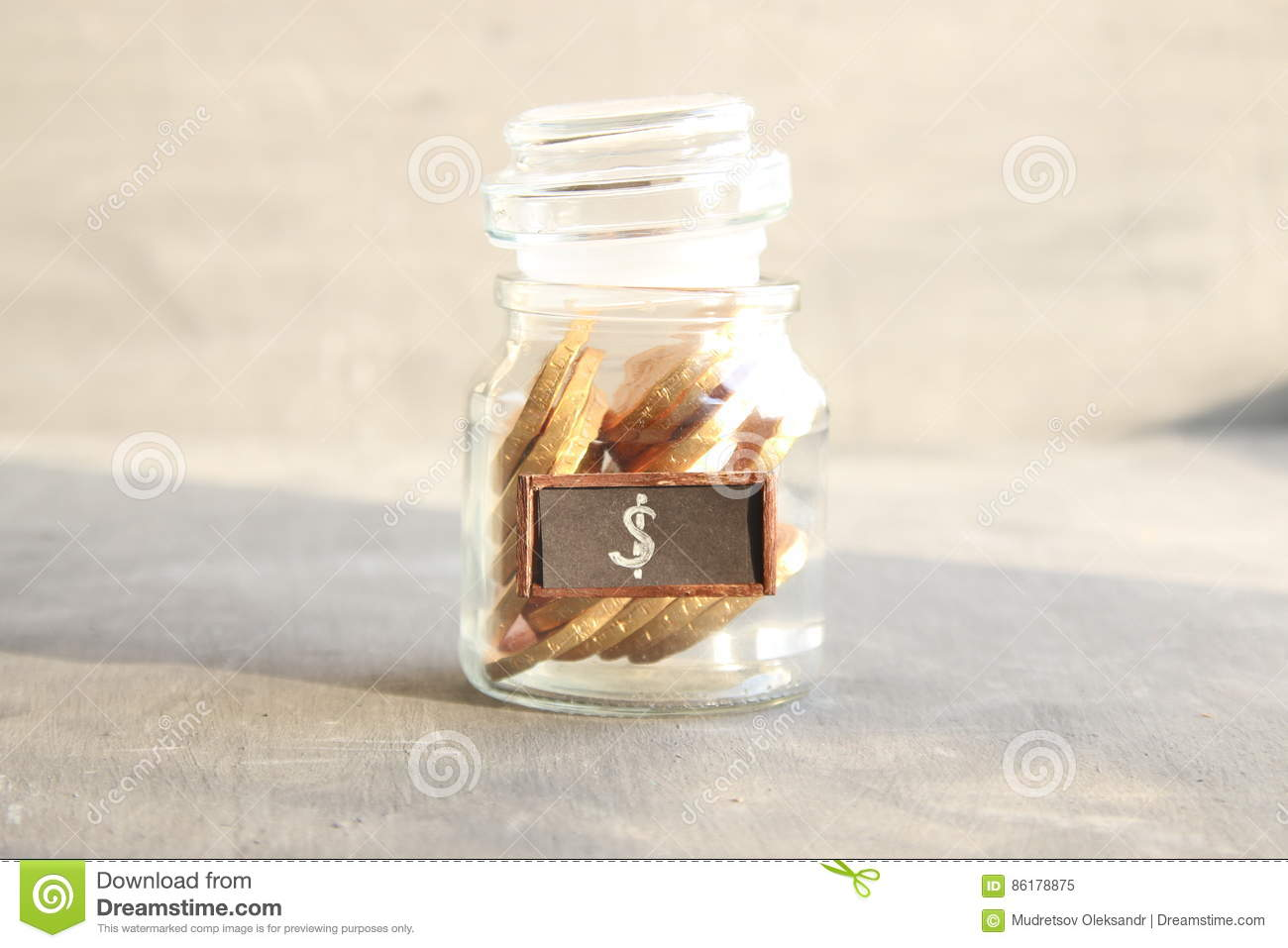 Saving Money Jar Golden Coins Stock Image Image Of Income Concept 86178875