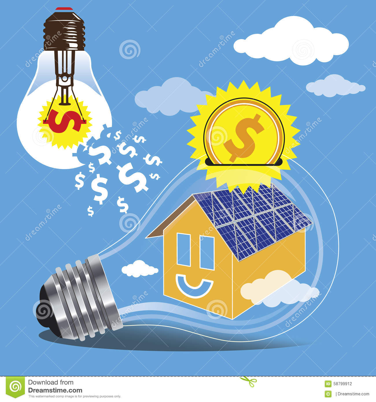 Solar Panel Yearly Savings: Solar Energy Is Money Saving Royalty-Free Stock