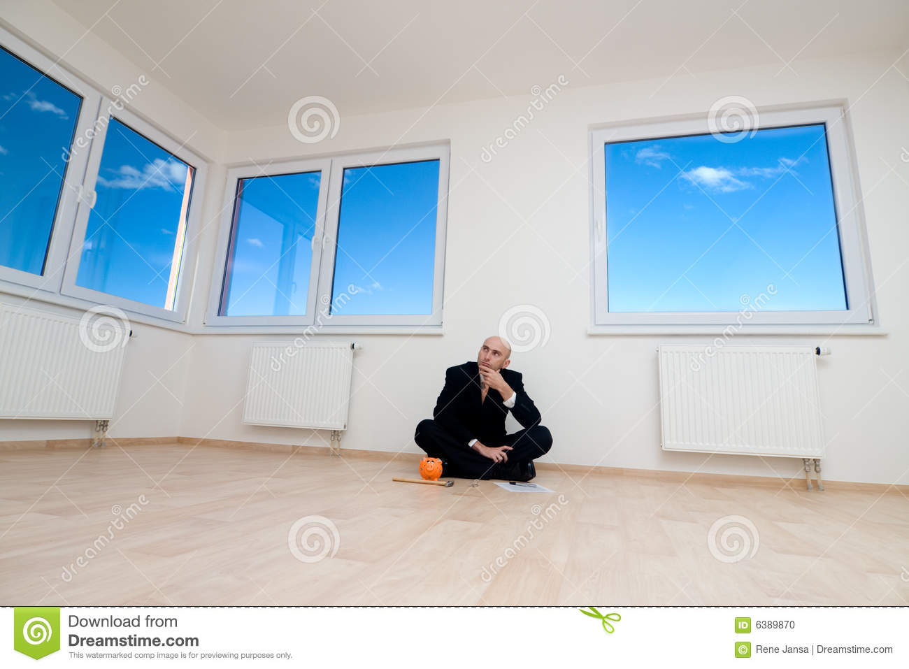 Piggybank and house royalty free stock image for Saving for a new home