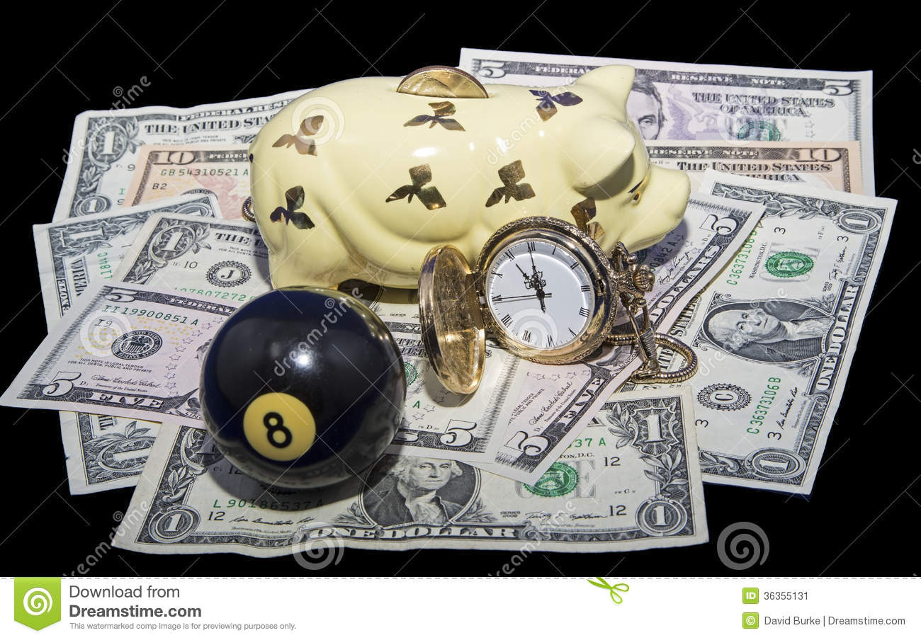 Savings Behind The Eight Ball Concept Isolated Stock Image