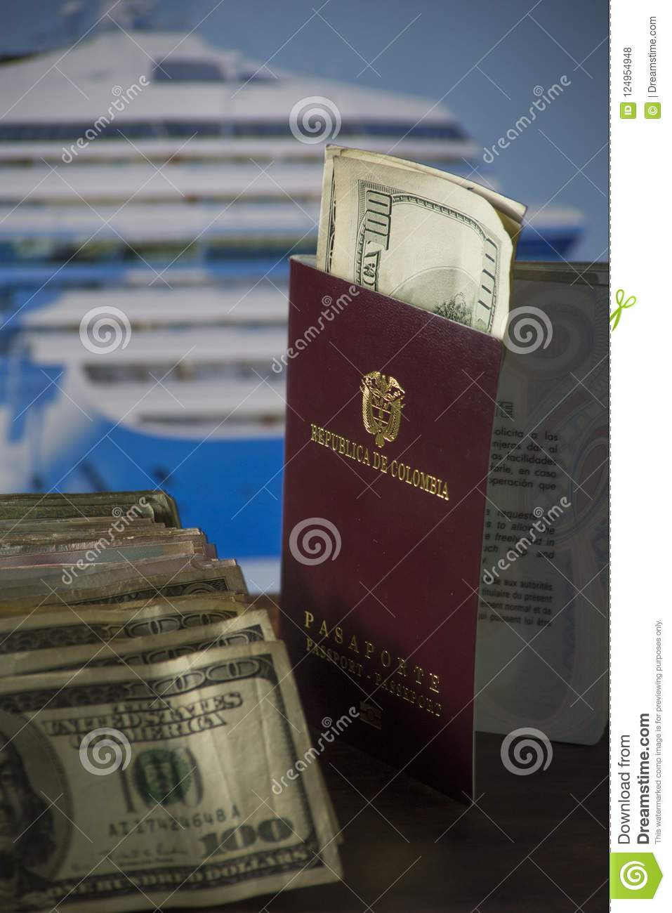 Savings destined to cruise by the sea- dollars and Colombian money with the cruise in the background