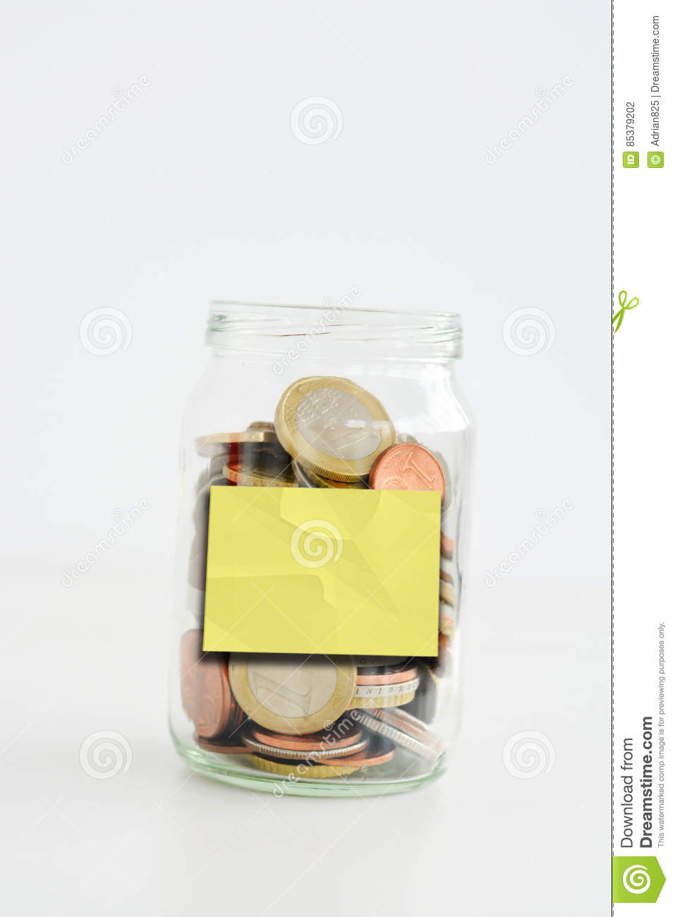 savings jar full of coins isolated on white background with empty or