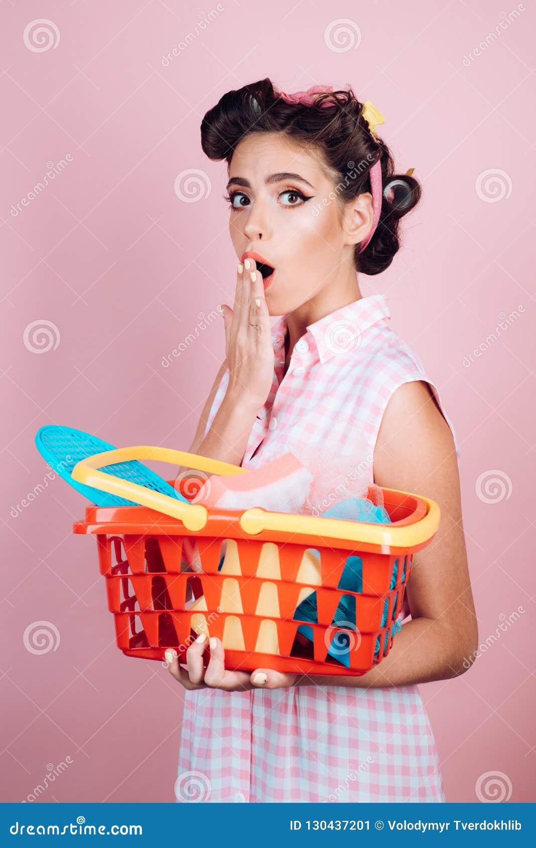 Savings on purchases. retro woman go shopping with full cart. surprised girl enjoying online shopping. online shopping
