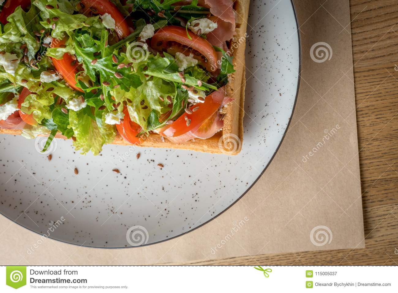 Savory Belgian Waffles With Salmon Salad And Tomato