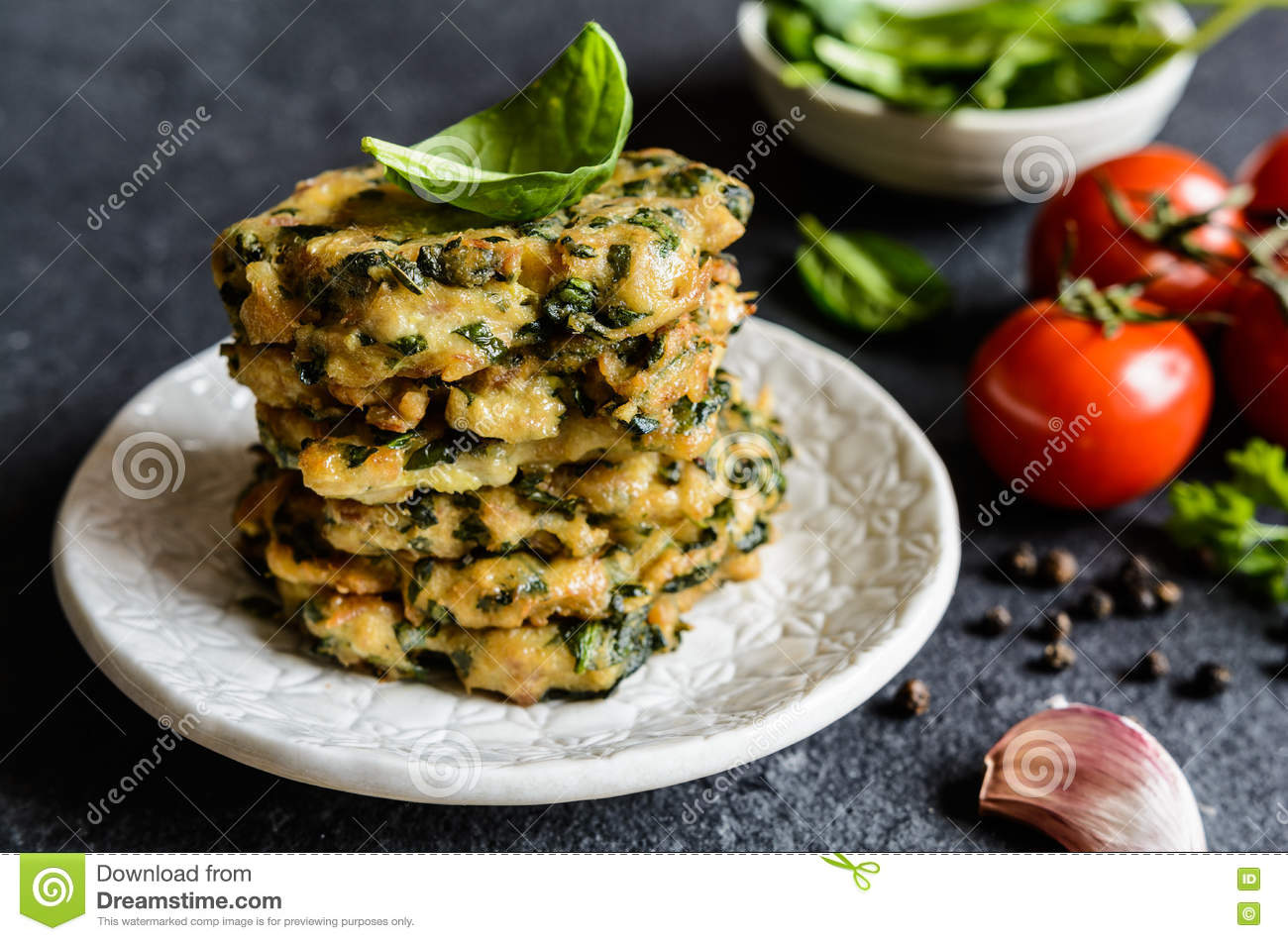 Savory Tuna Pancakes With Spinach, Garlic And Egg Royalty ...