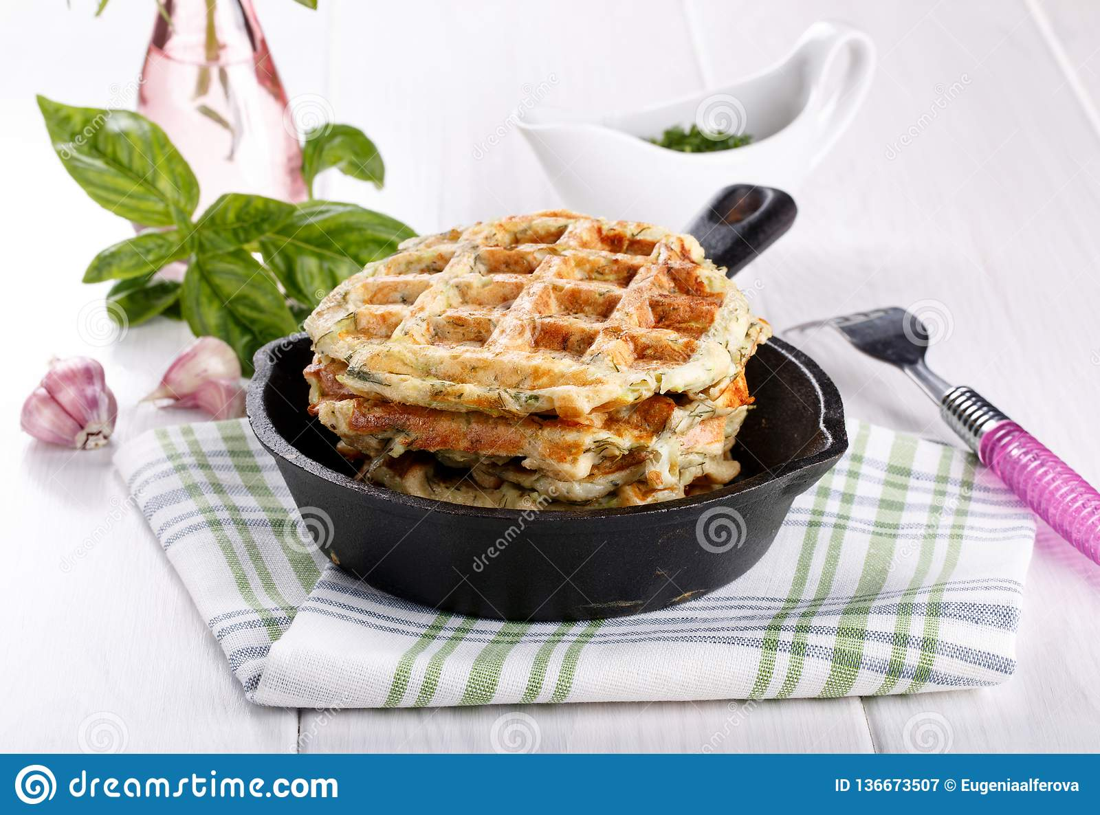Savory vegetable waffles with cheese and herbs