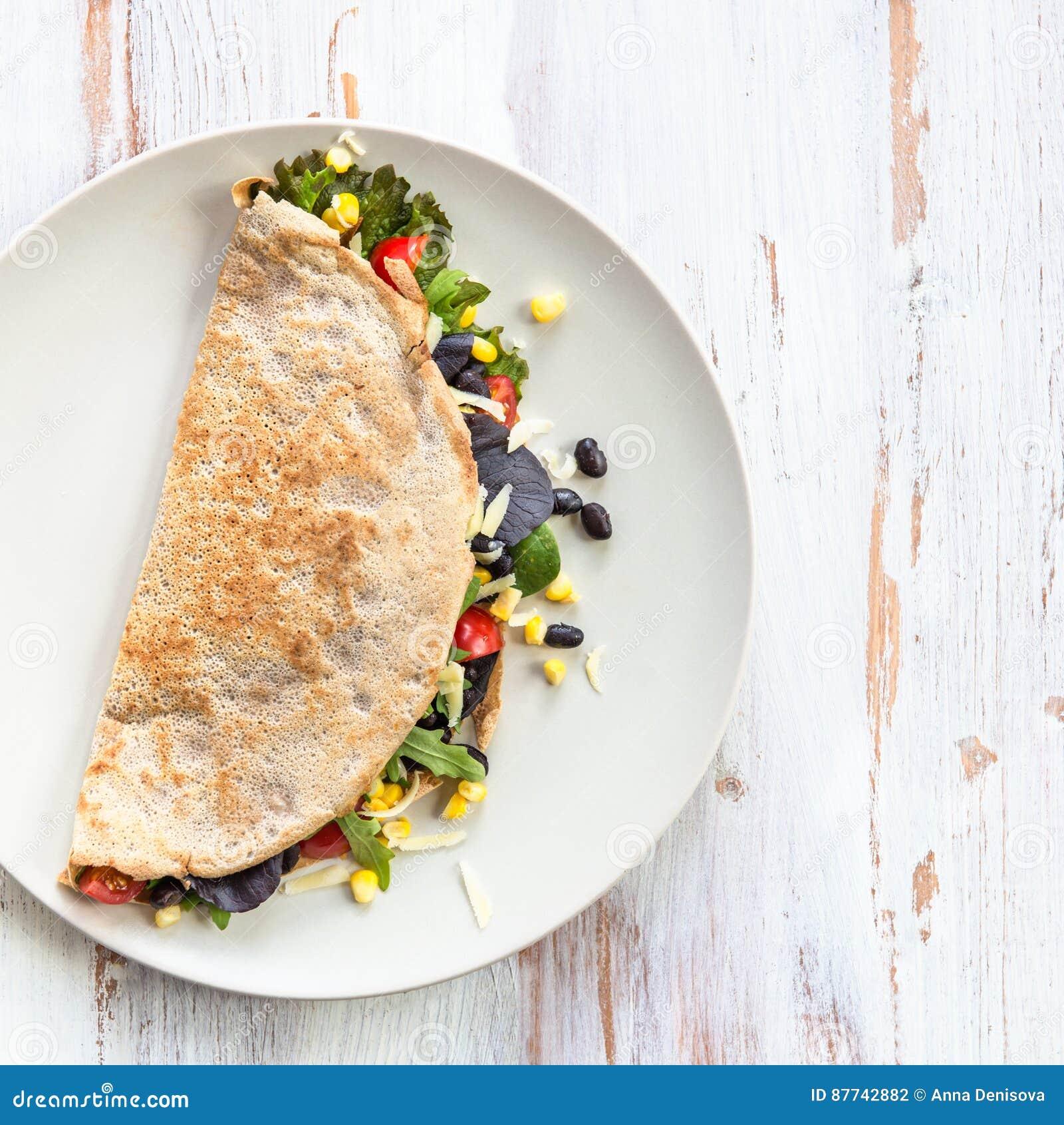 Savoury Buckwheat Pancake Or Quesadilla Stock Photo Image Of Black Cheese 87742882