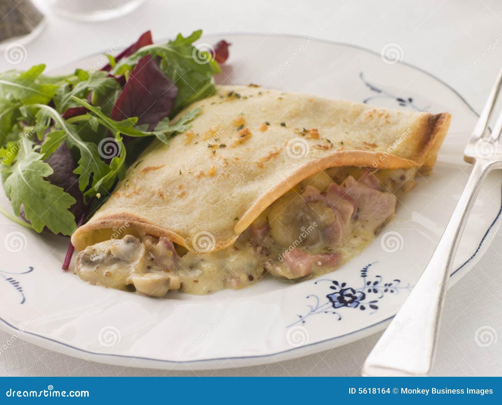 Savoury Pancake filled with Ham Cheese