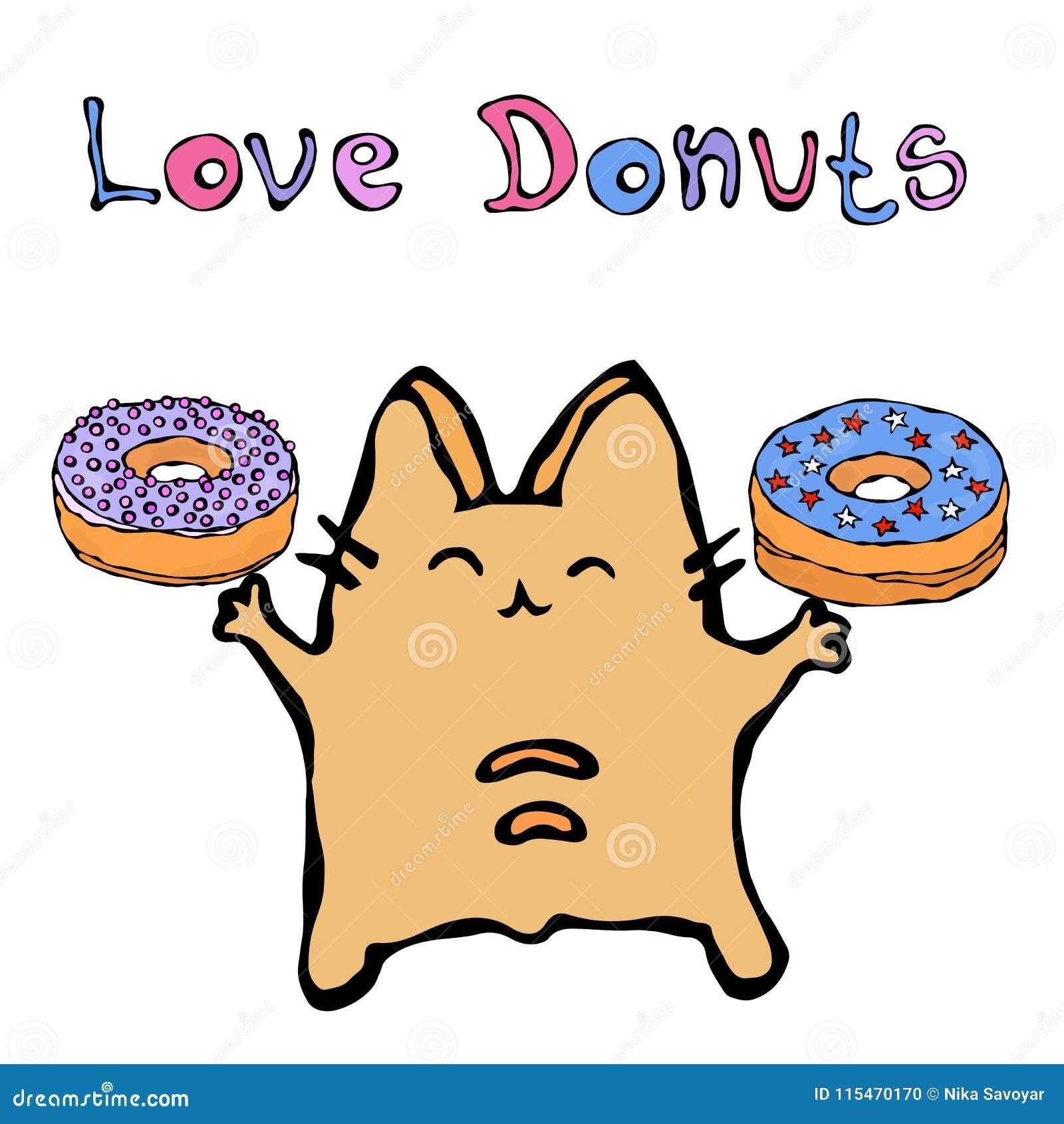 Savoyar Cat Holding Donuts Filhós do amor O vermelho alegre bonito ou Ginger Kitty do divertimento com mãos guardaram a elevação