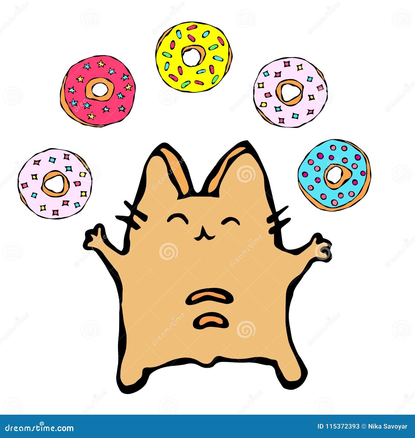 Savoyar Cat Juggling Donuts Filhós do amor O vermelho alegre bonito ou Ginger Kitty do divertimento com mãos guardaram a elevação