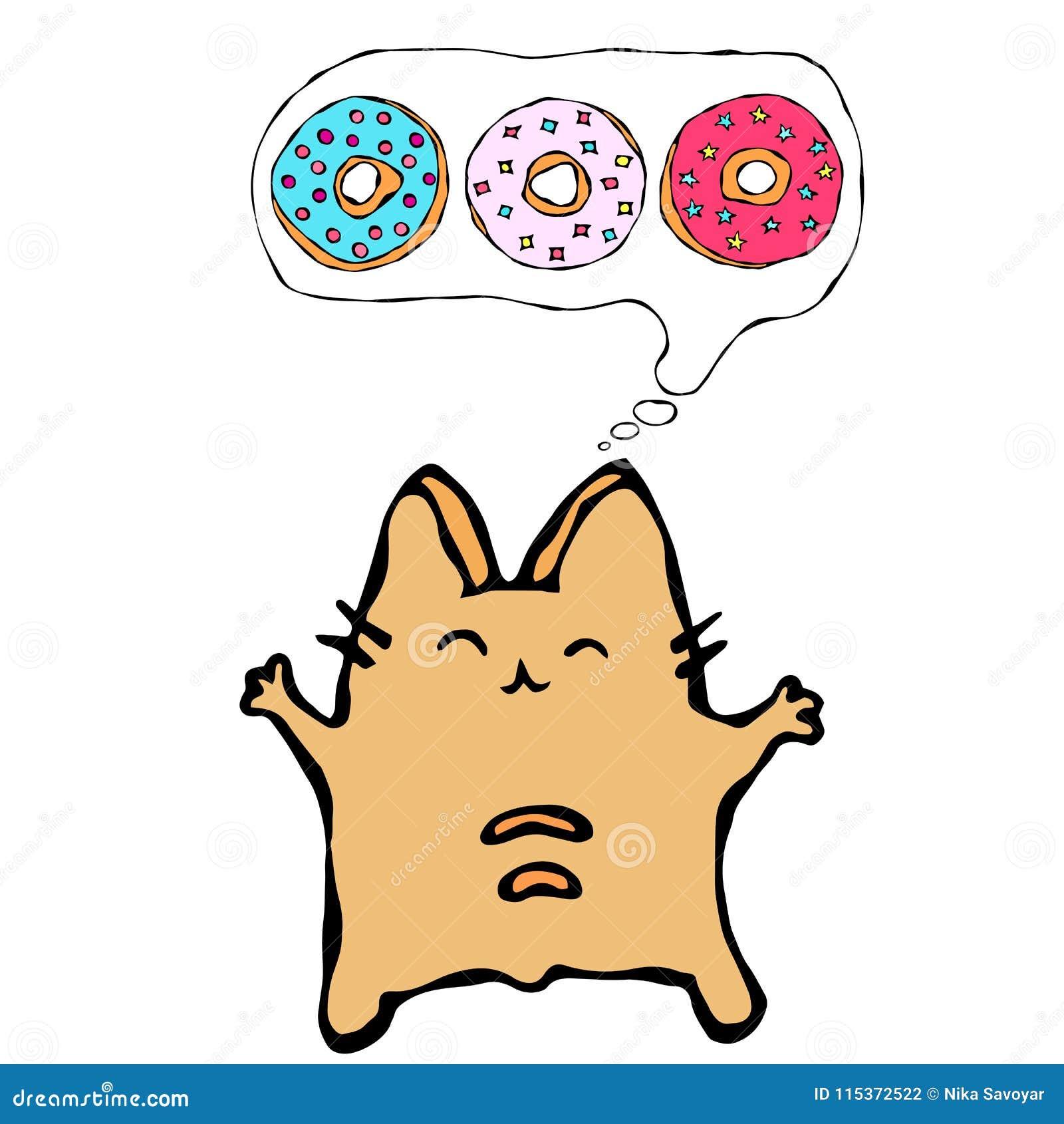 Savoyar Cat Thinking Dreaming About Donuts Filhós do amor O vermelho alegre bonito ou Ginger Kitty do divertimento com mãos guard