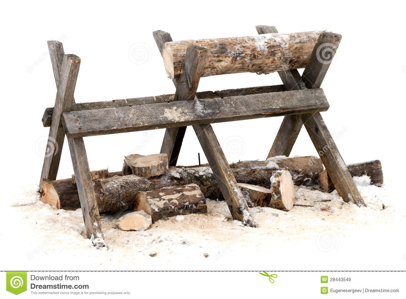 Sawing Log On Wooden Stand Royalty Free Stock Images ...