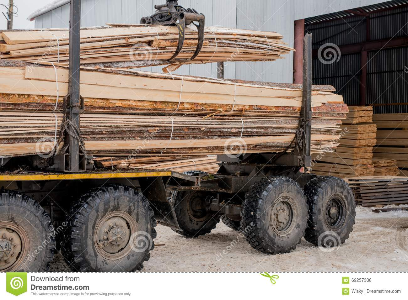 Sawmill. Image of truck transports boards