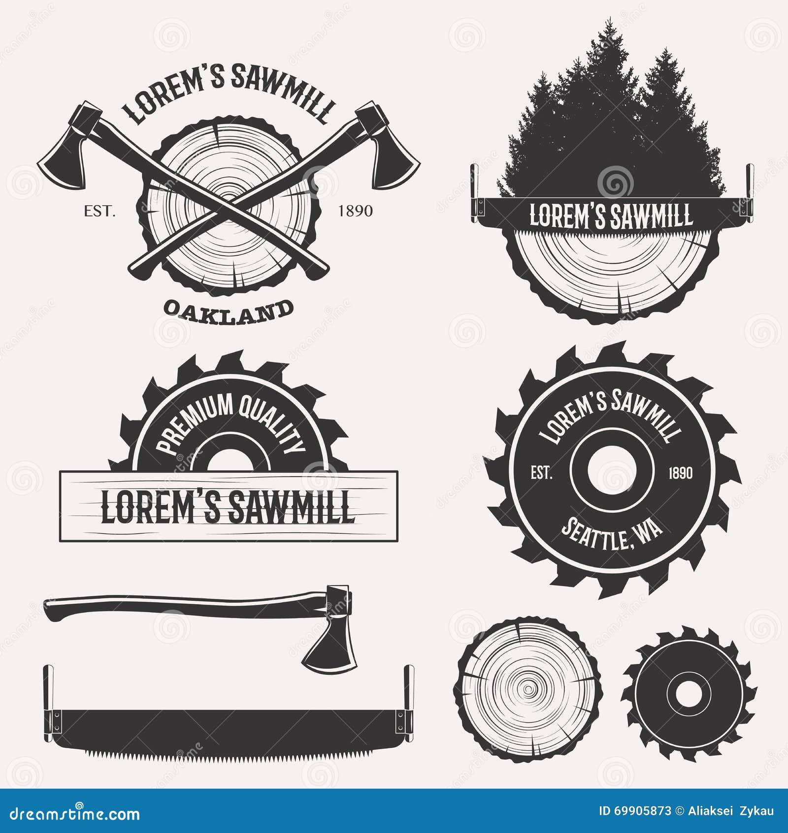Sawmill Logo Set Stock Vector Image 69905873