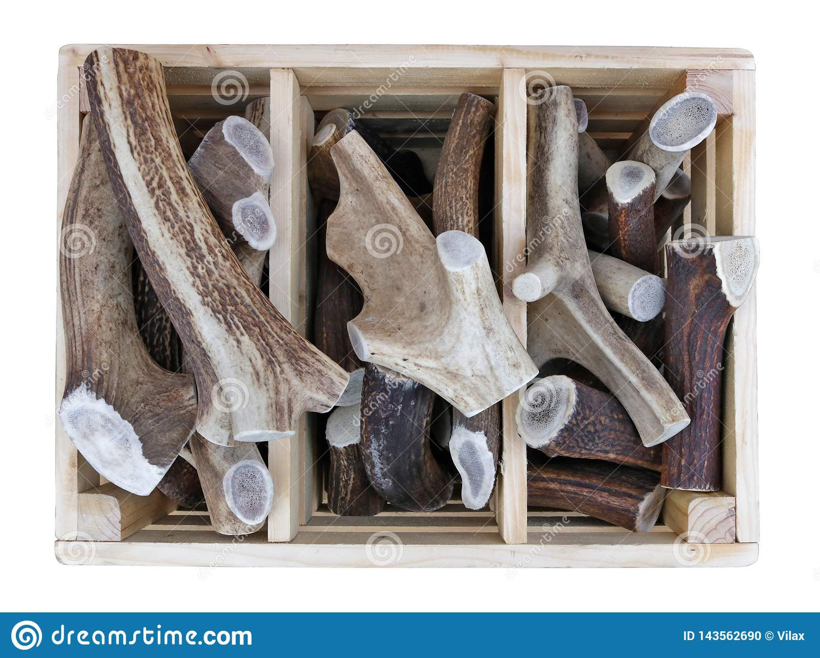 Sawn pieces of antlers of forest deer and elks in wooden box sold on the street