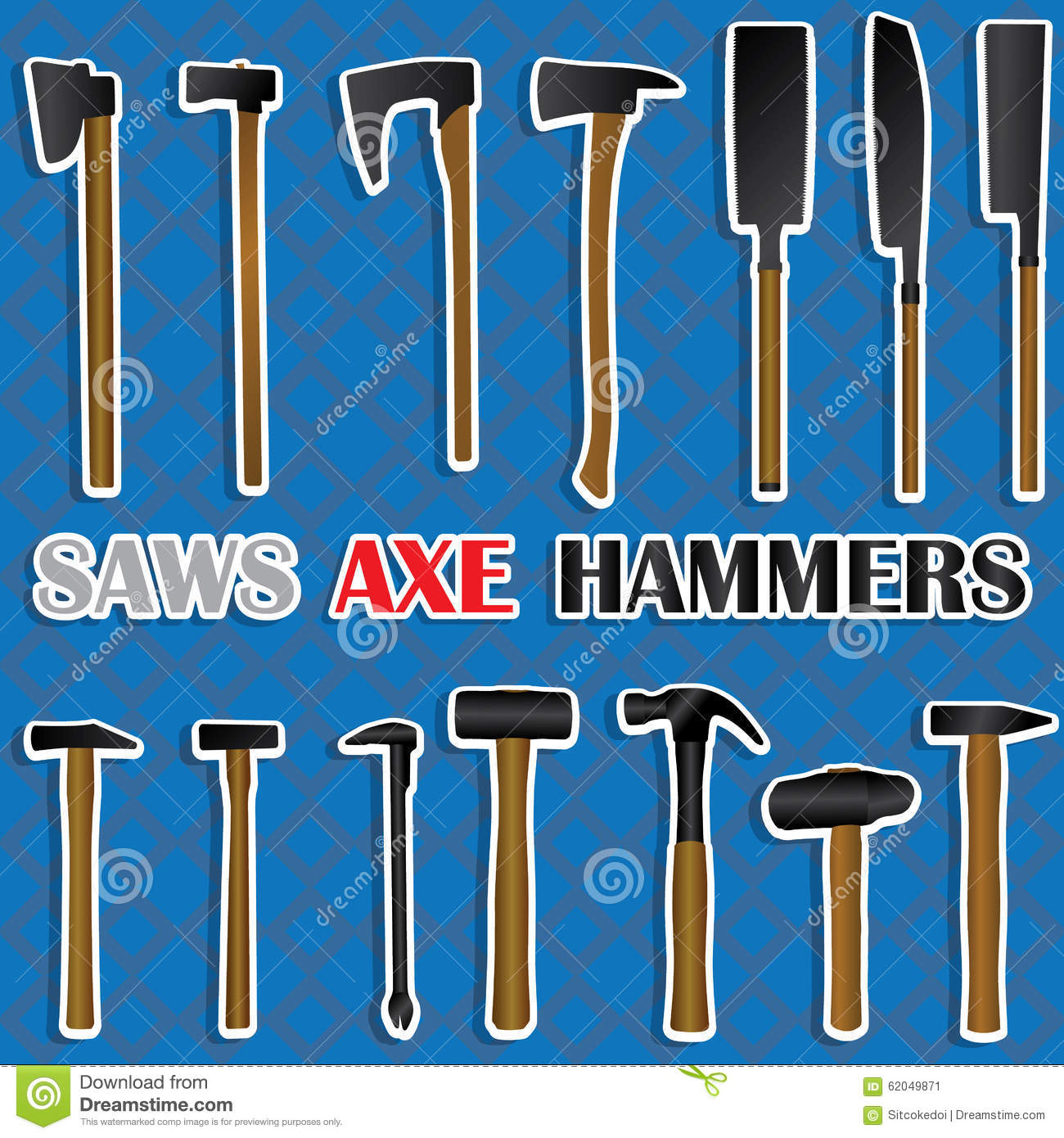 Saws, Hammers, Axes Many Types Stock Vector - Image: 62049871