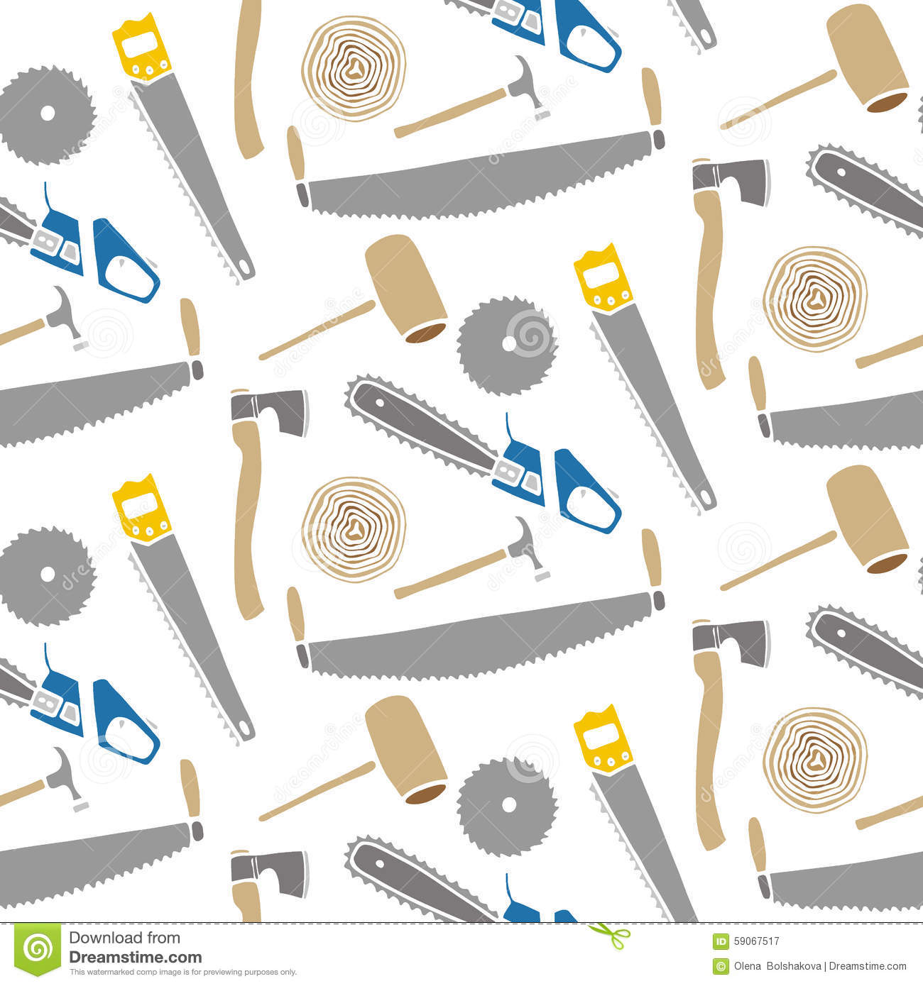 Saws And Hammers Wood And Tools Hand Drawn Seamless Cartoon