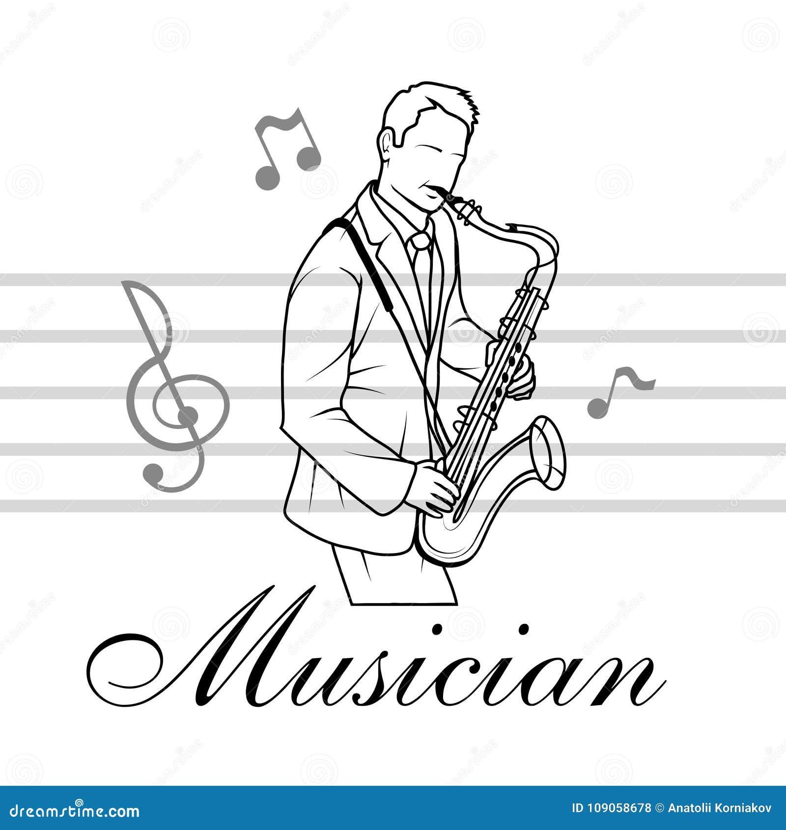 Saxofoonspeler De musicus speelt het instrument