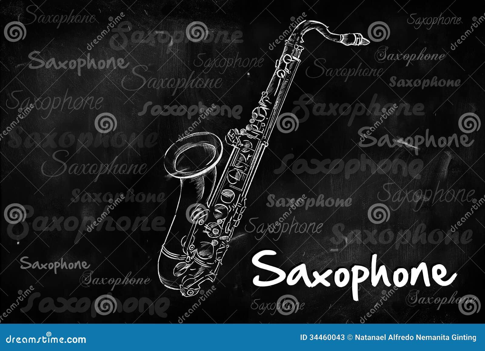 Saxofoontypografie die op bord schetsen