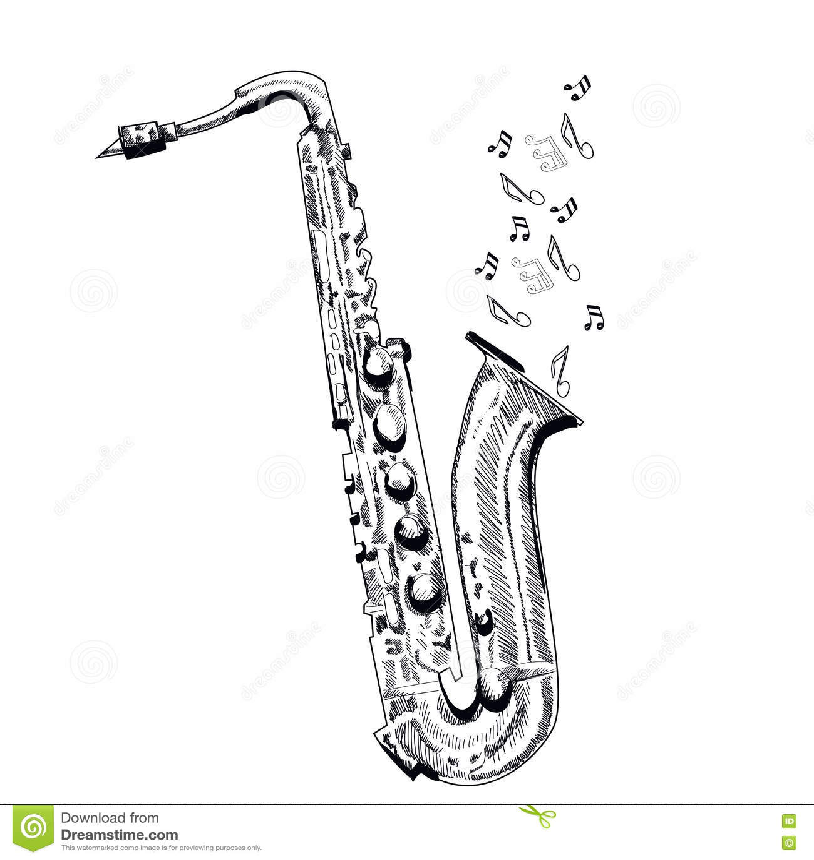 Saxophone d 39 instrument de musique sur le fond blanc - Saxophone dessin ...