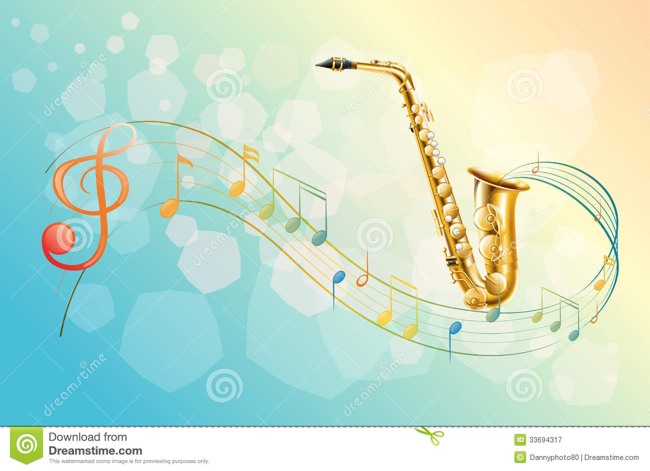 A Saxophone And The Musical Symbols Stock Vector Illustration Of