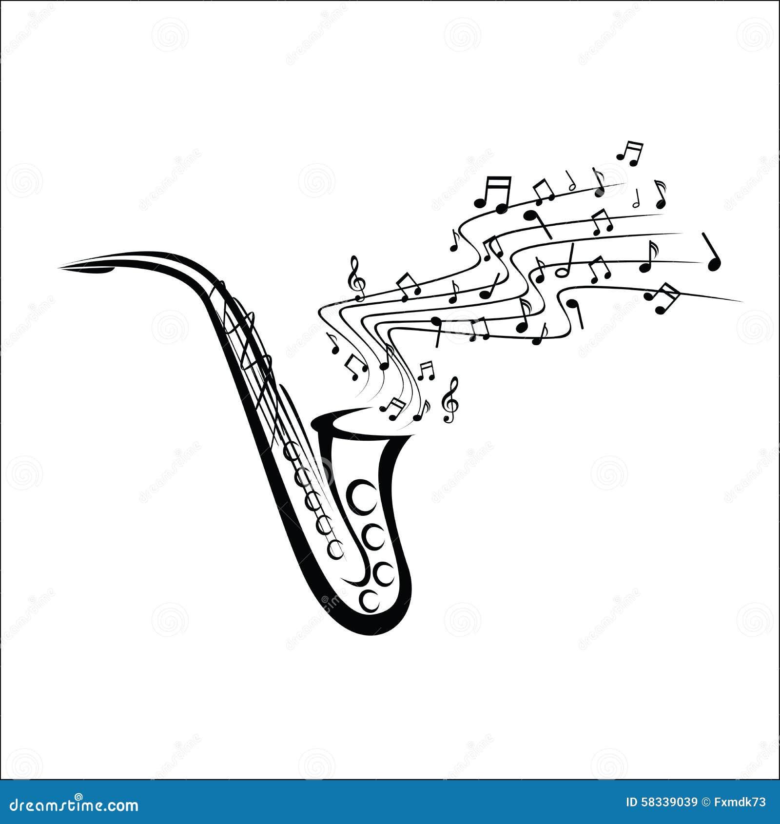 Saxophone sketch stock vector illustration of brass - Saxophone dessin ...
