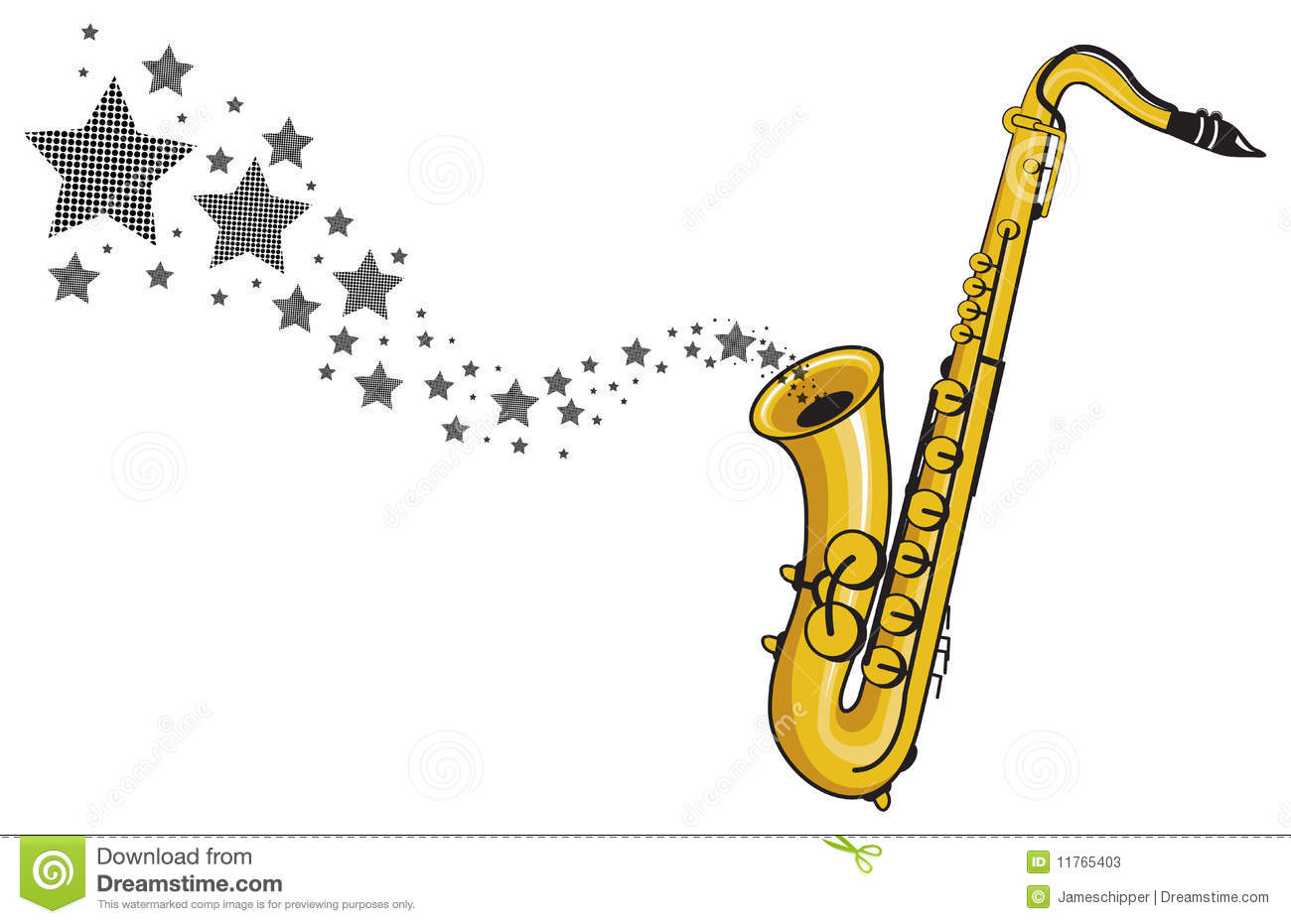 Saxophone With Star Coming Out Vector Stock Photos