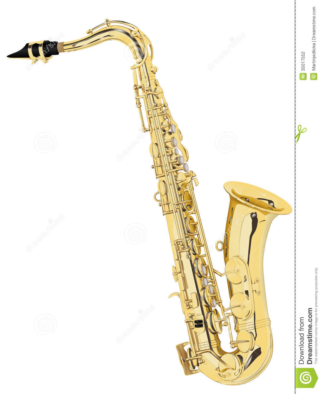 Woodwind musical instrument made of brass. Vector illustration.