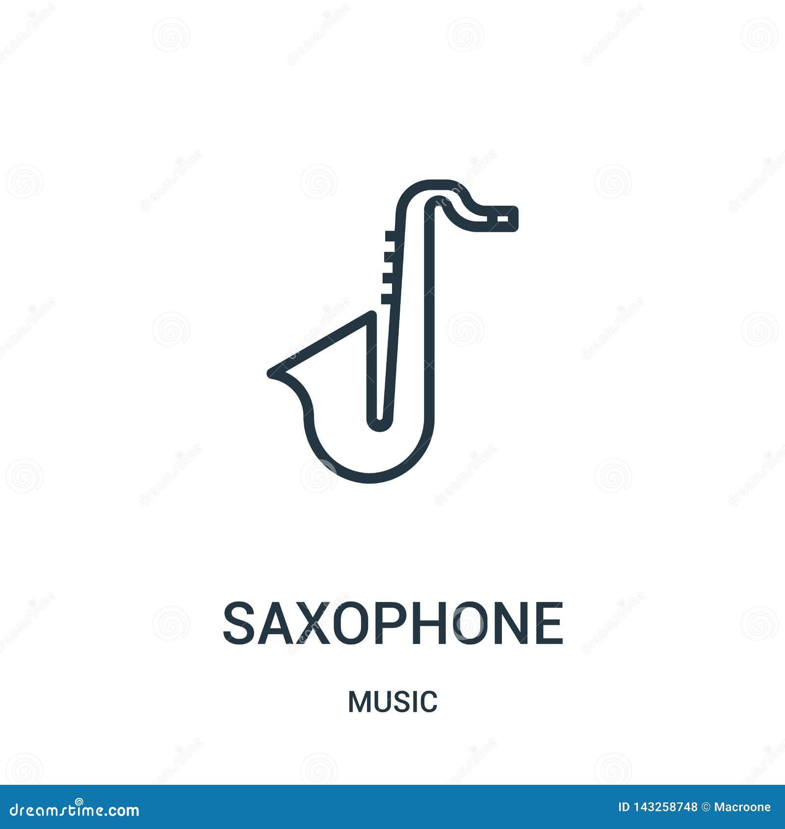 Saxophonikonenvektor von der Musiksammlung Dünne Linie Saxophonentwurfsikonen-Vektorillustration
