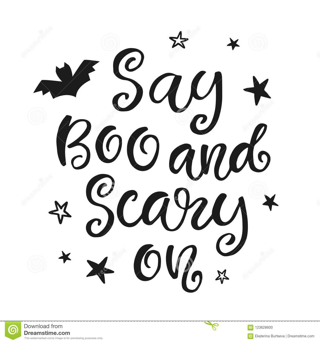 Say Boo And Scary On. Halloween Party Poster With Handwritten Ink ...