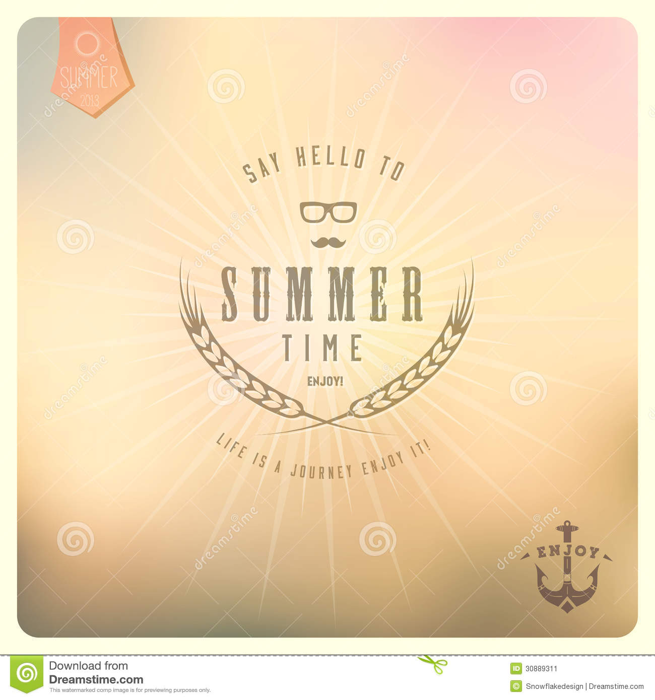 Say Hello To Summer / Colour Background In Retro Stock