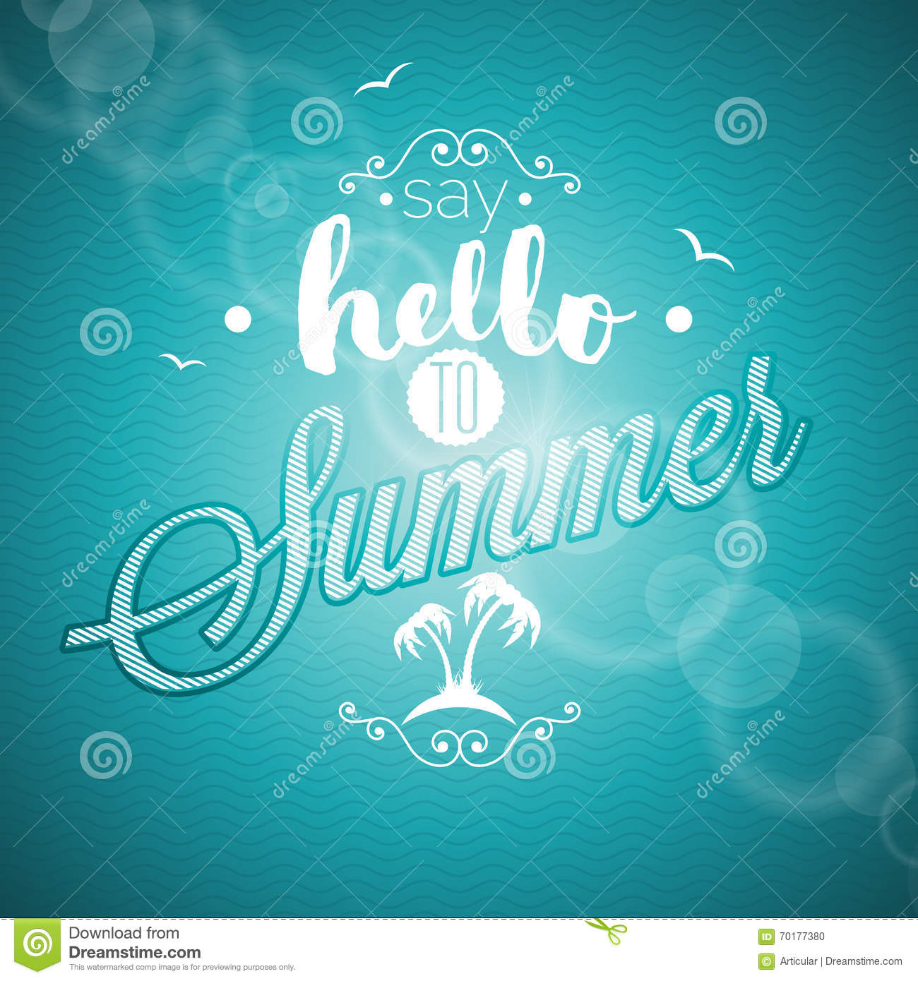 Say Hello To Summer Inspiration Quote On Blue Background. Vector Typography  Design Element For Greeting Cards