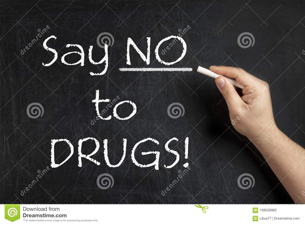 Say no to DRUGS teacher blackboard chalkboard