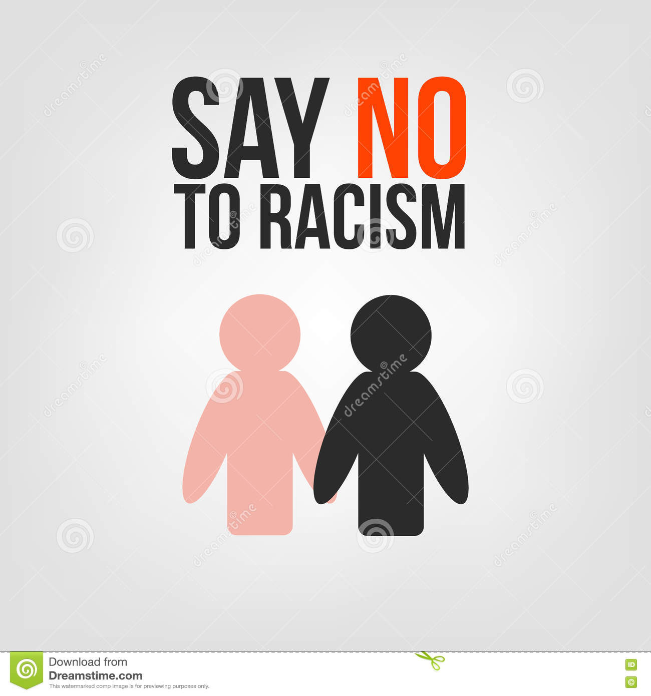 Say No To Racism. Black And White People Are Holding Hands ...