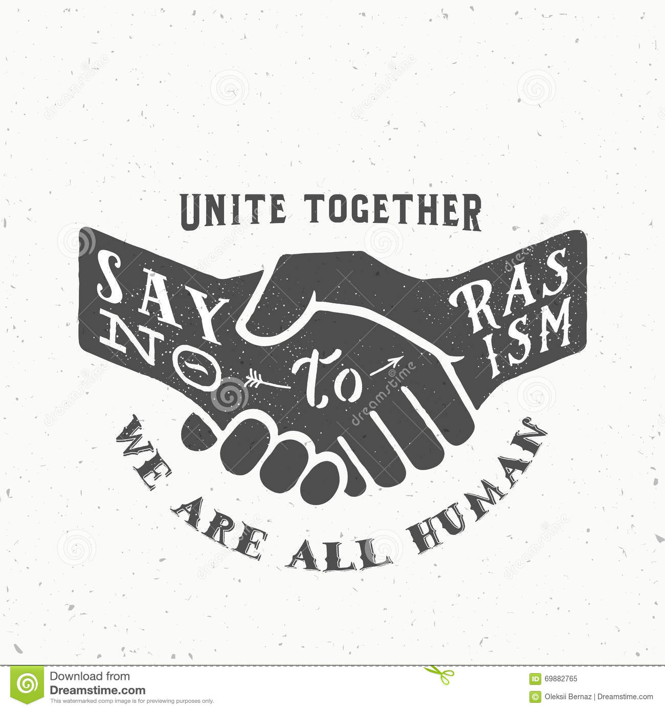 Say no to racism vintage vector handshake silhouette with retro say no to racism vintage vector handshake silhouette with retro typography and shabby textures biocorpaavc Images