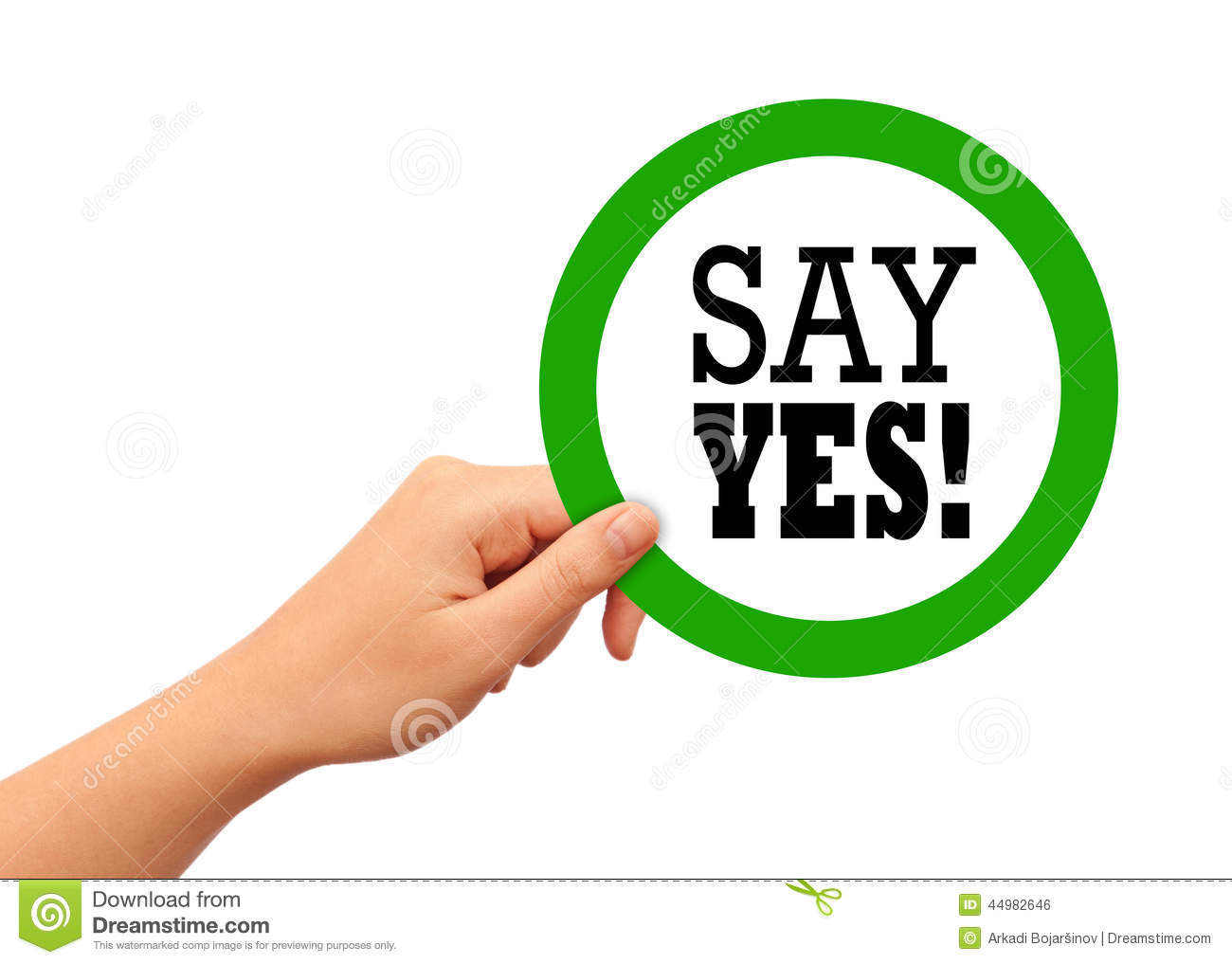 Say Yes Sign Stock Illustration - Image: 44982646