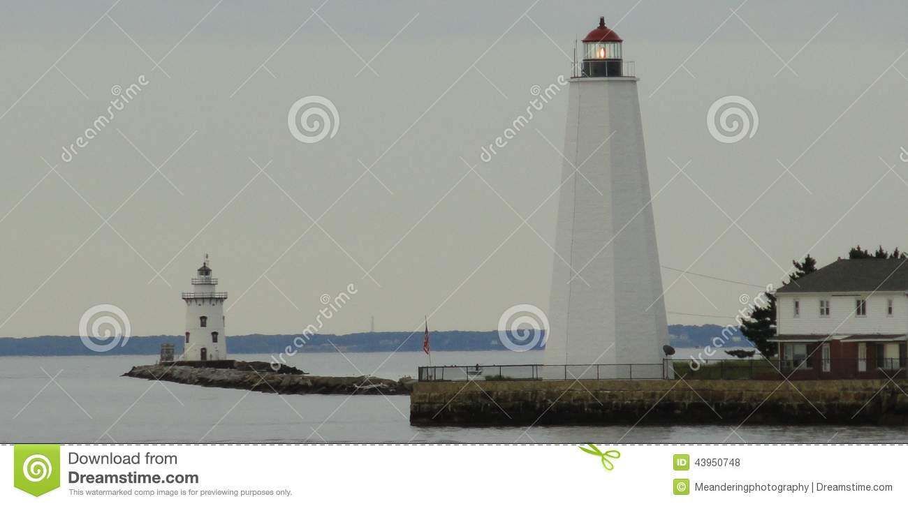 saybrook lighthouses stock photo image of ocean river 43950748