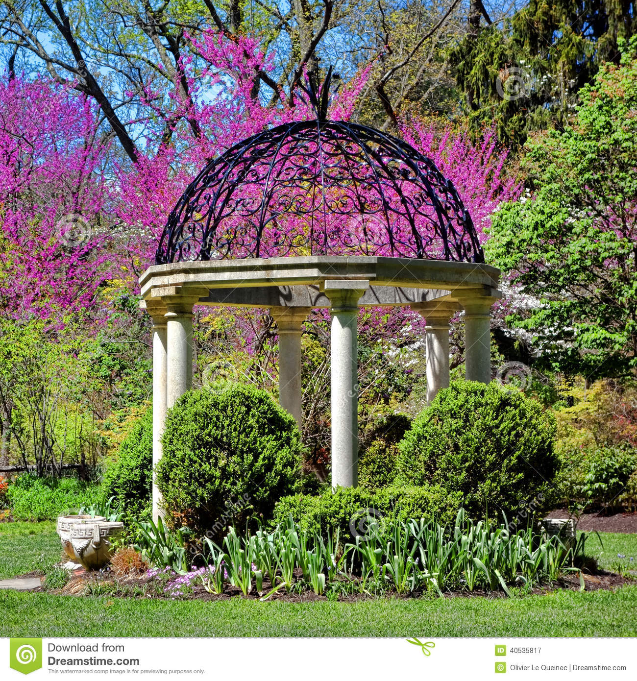 sayen park botanical gardens gazebo temple garden stock imagesayen park botanical gardens picturesque temple garden architectural gazebo with bright colors flowers on ornamental trees in the spring in hamilton square