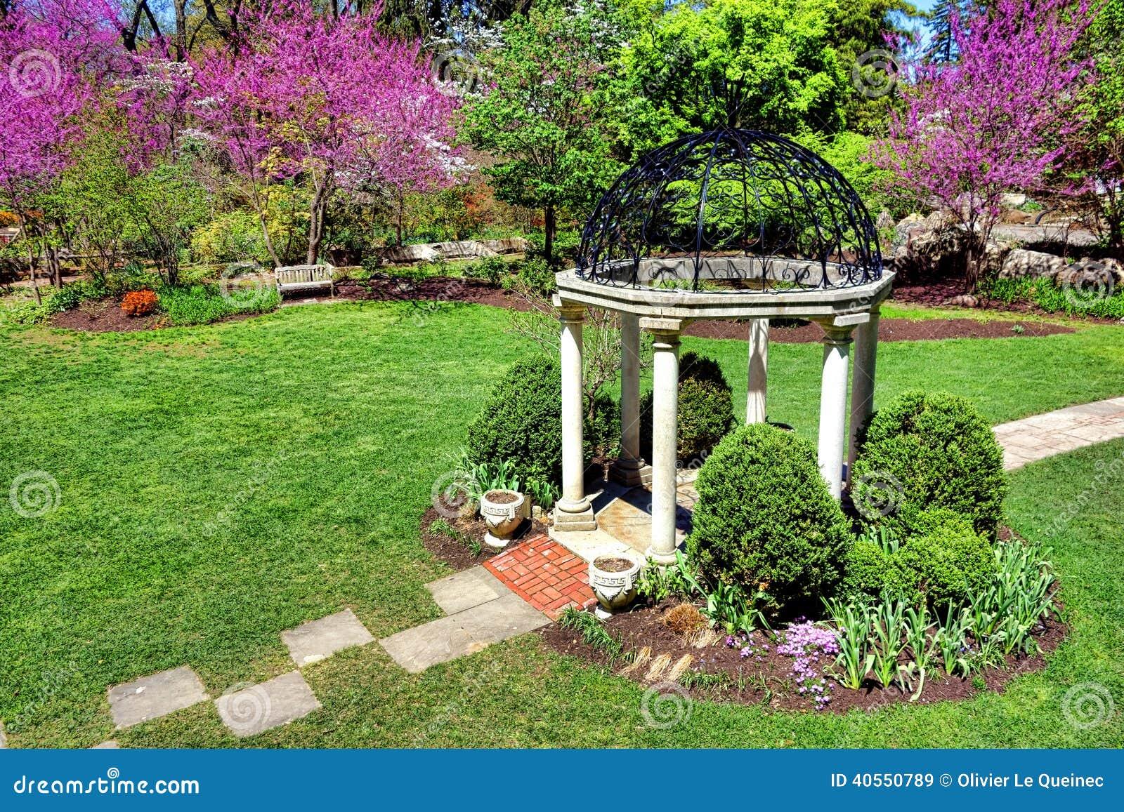 Sayen Park Botanical Gardens Spring Temple Garden Stock