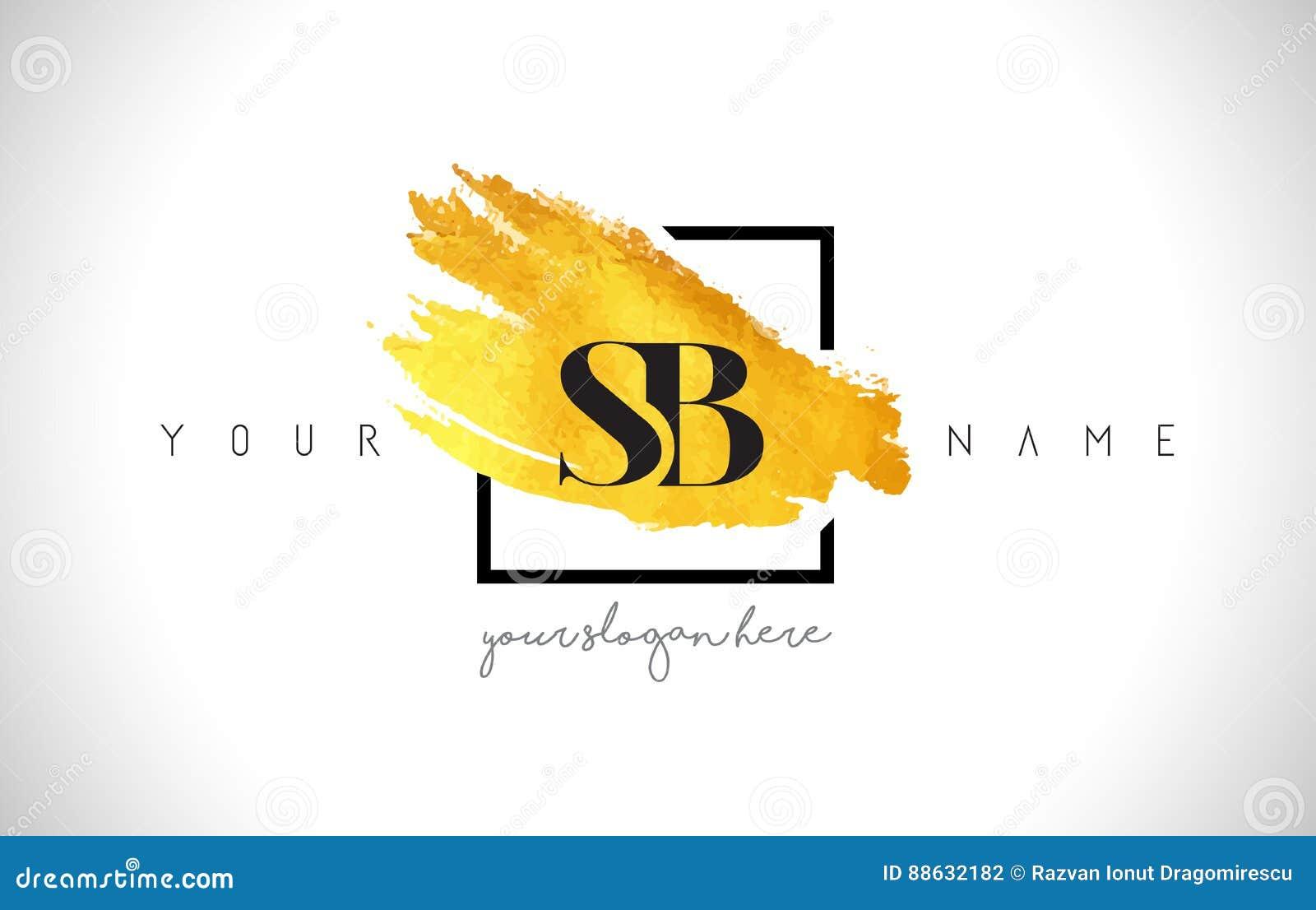 SB Golden Letter Logo Design with Creative Gold Brush Stroke
