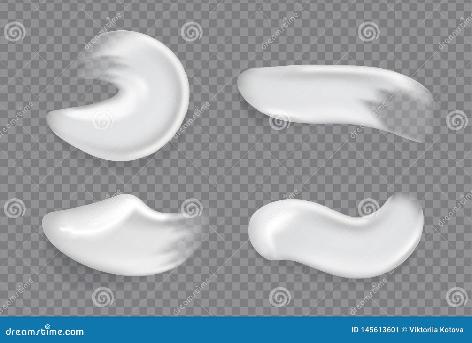 Sbavature crema cosmetiche realistiche nRealistic screma la goccia spruzza il gel d idratazione fresco della pelle della sbavatur