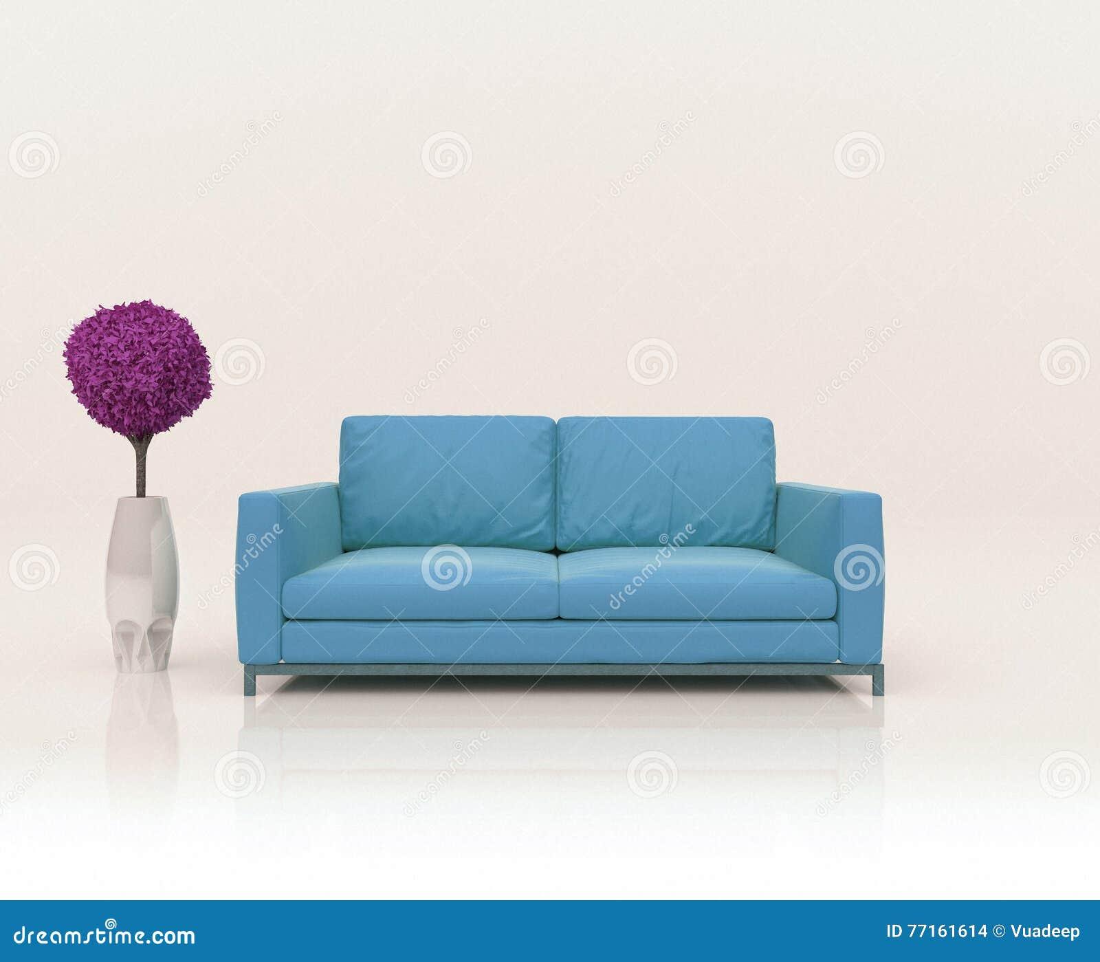 Scène abstraite avec le sofa et l arbre